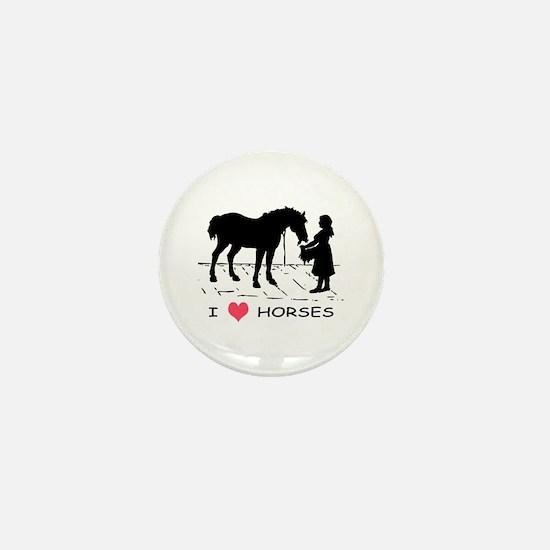 Horse & Girl I Heart Horses Mini Button