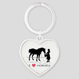 Horse & Girl I Heart Horses Heart Keychain