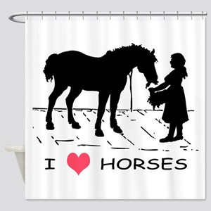 Horse & Girl I Heart Horses Shower Curtain