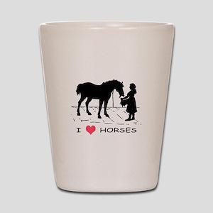 Horse & Girl I Heart Horses Shot Glass