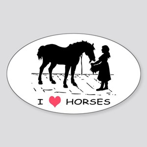 Horse & Girl I Heart Horses Sticker (Oval)