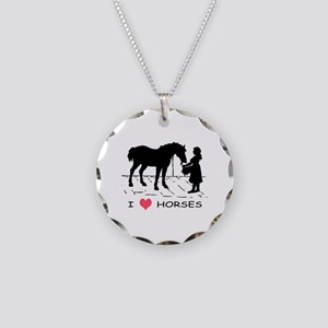 Horse & Girl I Heart Horses Necklace Circle Charm