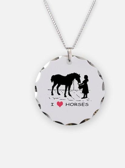 Horse & Girl I Heart Horses Necklace