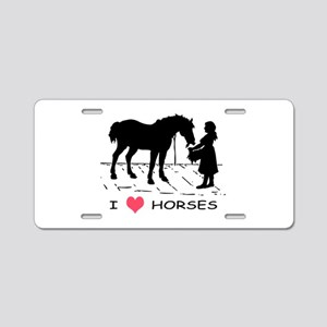 Horse & Girl I Heart Horses Aluminum License Plate