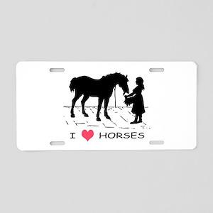 Horse & Girl I Heart Horses Aluminum License Plate