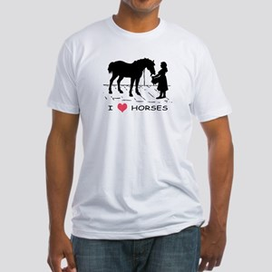 Horse & Girl I Heart Horses Fitted T-Shirt