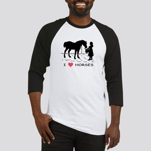 Horse & Girl I Heart Horses Baseball Jersey