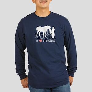 Horse & Girl I Heart Hors Long Sleeve Dark T-Shirt