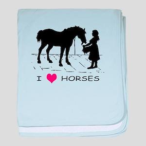Horse & Girl I Heart Horses baby blanket