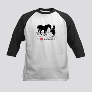 Horse & Girl I Heart Horses Kids Baseball Jersey