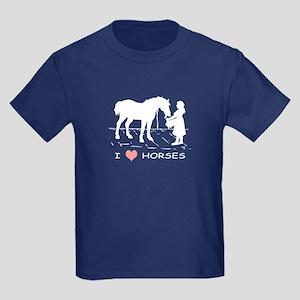 Horse & Girl I Heart Horses Kids Dark T-Shirt