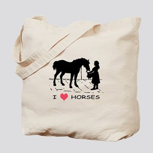 Horse & Girl I Heart Horses Tote Bag