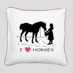 Horse & Girl I Heart Horses Square Canvas Pillow