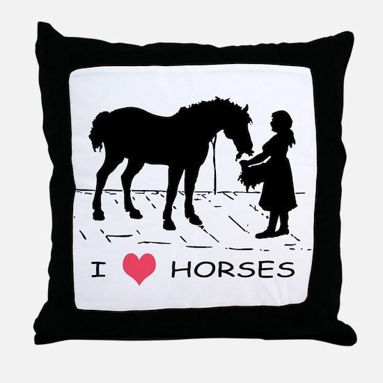 Horse & Girl I Heart Horses Throw Pillow