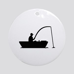 Angler Fisher boat Ornament (Round)
