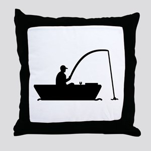 Angler Fisher boat Throw Pillow