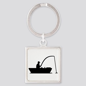Angler Fisher boat Square Keychain