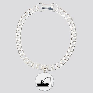 Angler Fisher boat Charm Bracelet, One Charm