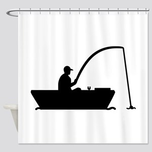 Angler Fisher boat Shower Curtain