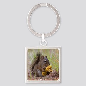 Happy Squirrel & Prized Mushroom Square Keychain