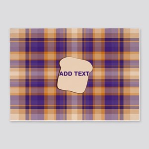 Peanut Butter and Jelly Plaid bread 5'x7'Area Rug