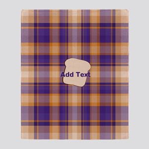 Peanut Butter and Jelly Plaid bread Throw Blanket