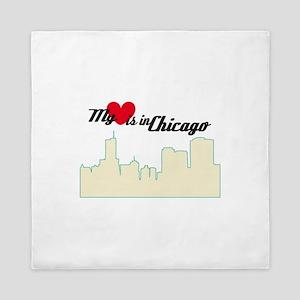My Love Is In Chicago Queen Duvet