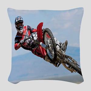 Motocross Stunt Woven Throw Pillow
