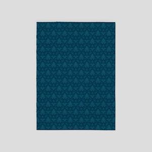 Blue Fleur-De-Lis Pattern 5'x7'area Rug