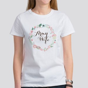 Army Wife Floral Wreath T-Shirt