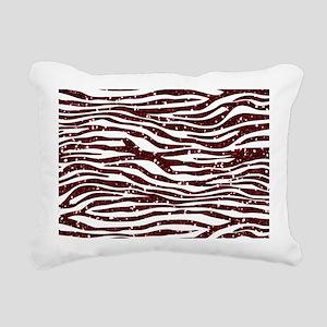 Red Faux Glitter Zebra Rectangular Canvas Pillow