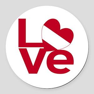 Red Austrian LOVE Round Car Magnet