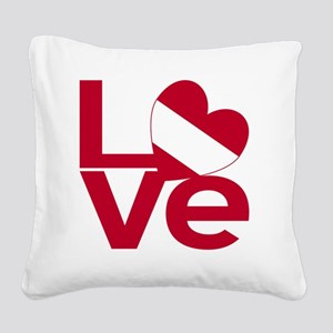 Red Austrian LOVE Square Canvas Pillow