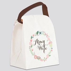 Army Wife Floral Wreath Canvas Lunch Bag