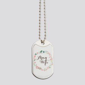 Army Wife Floral Wreath Dog Tags