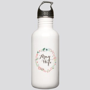 Army Wife Floral Wreath Water Bottle