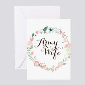 Army Wife Floral Wreath Greeting Cards
