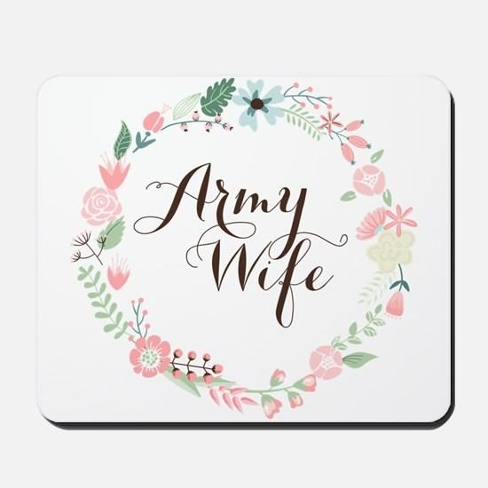 Army Wife Floral Wreath Mousepad