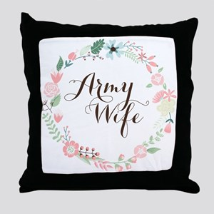 Army Wife Floral Wreath Throw Pillow