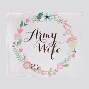 Army Wife Floral Wreath Throw Blanket