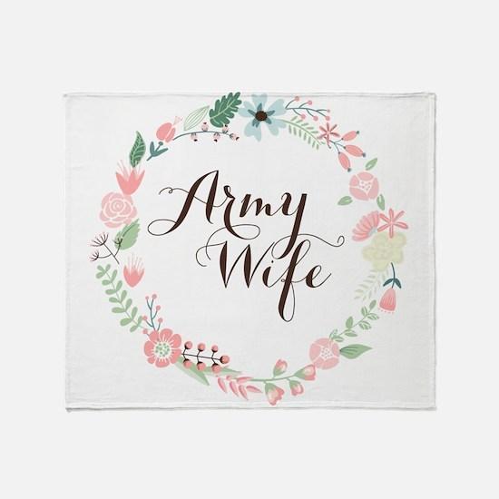 Army Wife Floral Wreath Throw Blanket