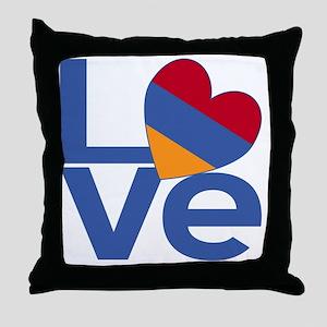 Blue Armenia LOVE Throw Pillow
