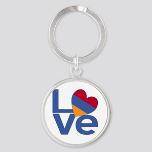 Blue Armenia LOVE Round Keychain