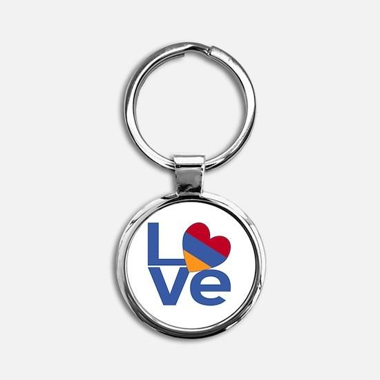 Blue Armenia LOVE Round Keychain