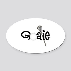 Lacrosse Goalie Oval Car Magnet