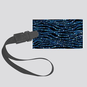 Blue Black Faux Glitter Large Luggage Tag