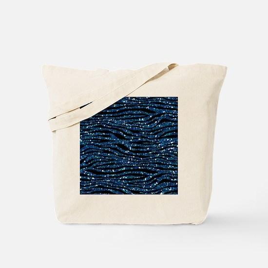 Blue Black Faux Glitter Tote Bag