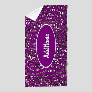 Purple Faux Glitter Zebra Personalized Beach Towel