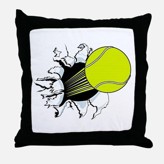 Breakthrough Tennis Ball Throw Pillow