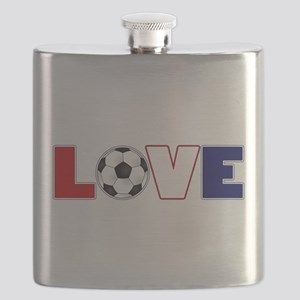 Love Soccer USA Colors Flask